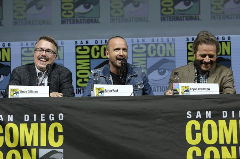 Vince Gilligan, Aaron Paul e Bryan Cranston, regista e attori di Breaking Bad
