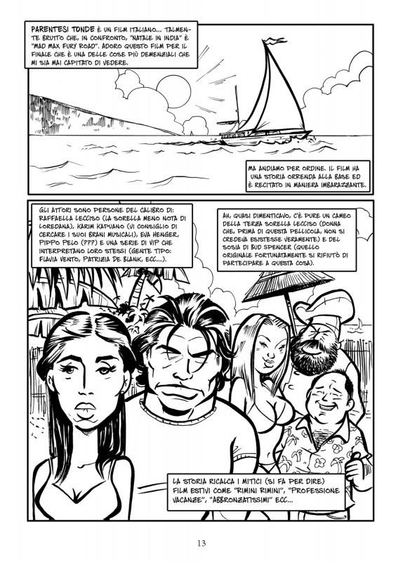 Una tavola della recensione di Parentesi Tonde tratta dal Dizionario dei film brutti a fumetti