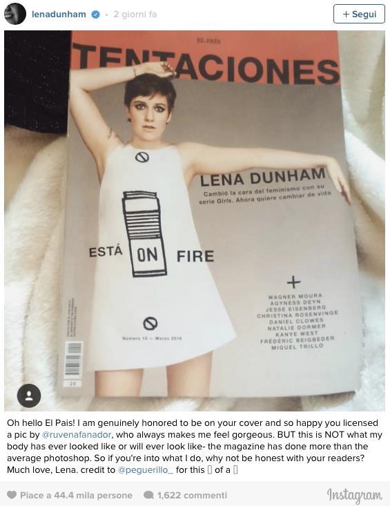 Lo scatto contestato da Lena Dunham su Instagram