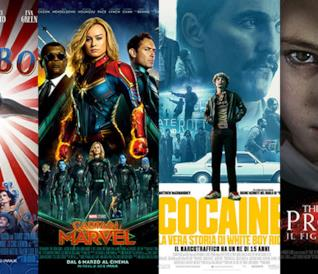 I poster di Dumbo, Captain Marvel, Cocaine - La vera storia di White Boy Rick, The Prodigy