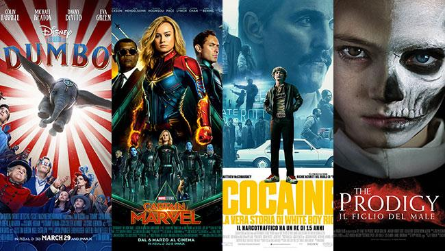 I poster di Dumbo, Captain Marvel, Cocaine - La vera storia di White Boy Rick, The Prodigy