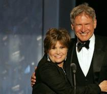 Primo piano di Carrie Fisher e Harrison Ford
