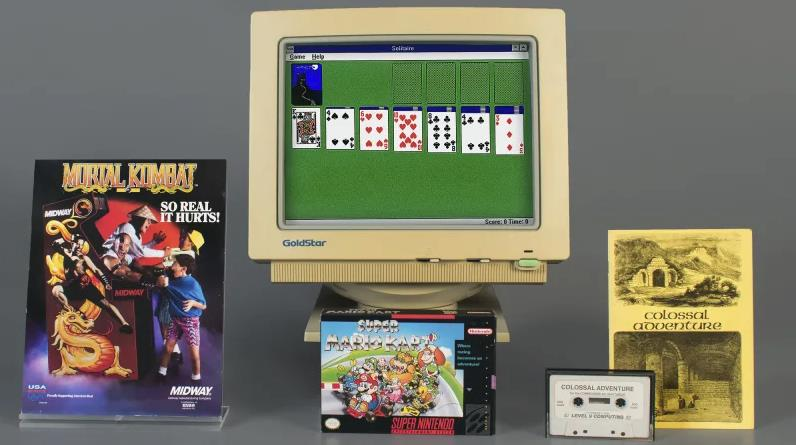 Microsoft Solitaire, Mortal Kombat, Super Mario Kart e Colossal Adventure