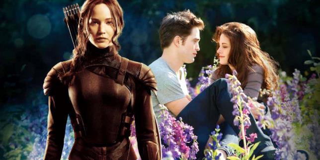 Katniss in primo piano rispetto a Edward e Bella nella radura sullo sfondo