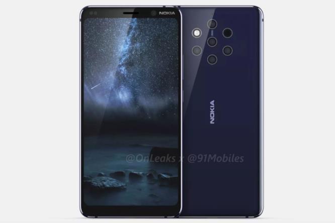 Leak di Nokia 9, parte anteriore e posteriore dello smartphone