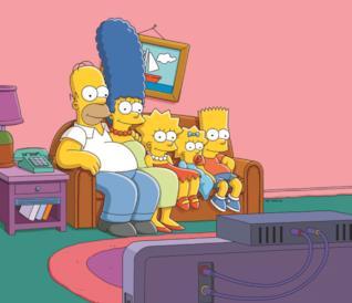 In foto Homer, Marge, Lisa, Maggie e Bart