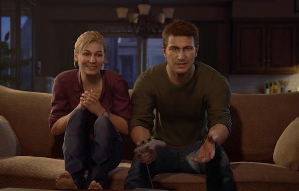 Nathan e Elena giocano a Crash Badicoot in Uncharted 4