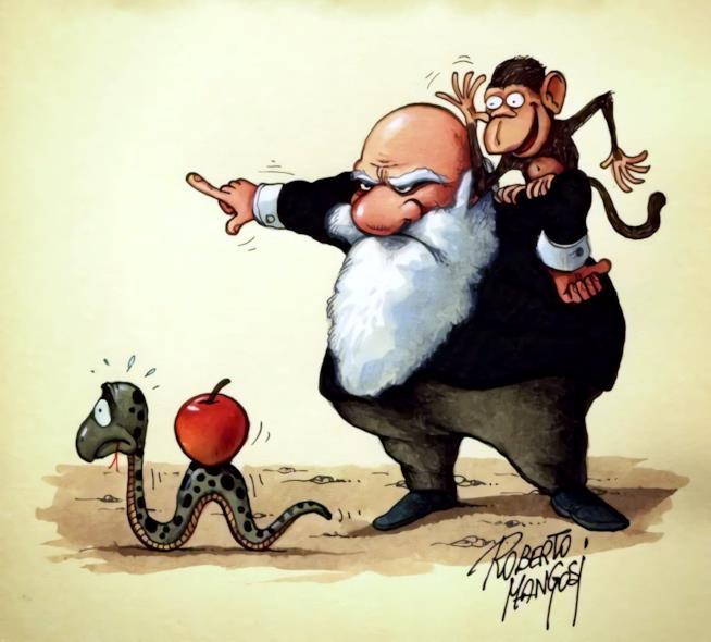 Darwin che scaccia via il serpente in una vignetta di Roberto Mangosi
