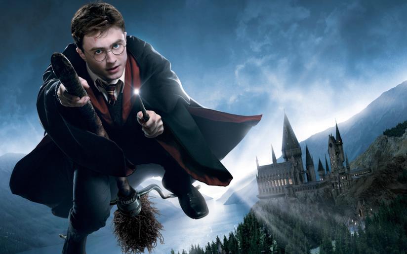 Harry Potter a cavallo di una scopa