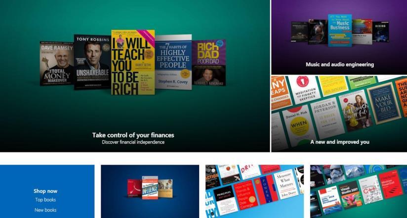 La Home della sezione Books del Microsoft Store