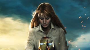 Un primo piano di Gwyneth Paltrow nel poster di Iron Man 3