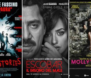 I poster dei film Ghost Stories, Escobar - Il fascino del male e Molly's Game