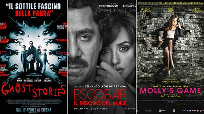 I poster dei film Ghost Stories, Escobar - Il fascino del male e Molly's Game