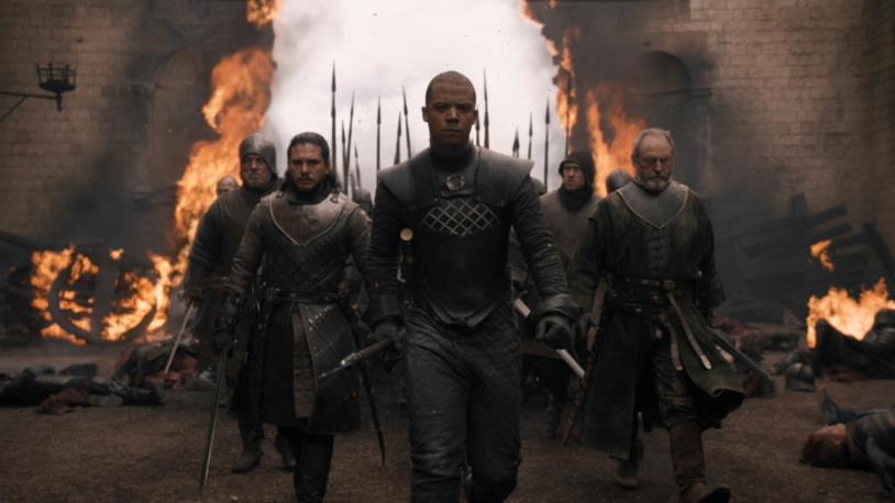 Kit Harington, Jacob Anderson e Liam Cunningham in Game of Thrones 8x05
