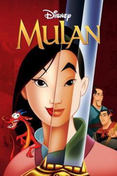 I due volti di Mulan nella locandina del film animato