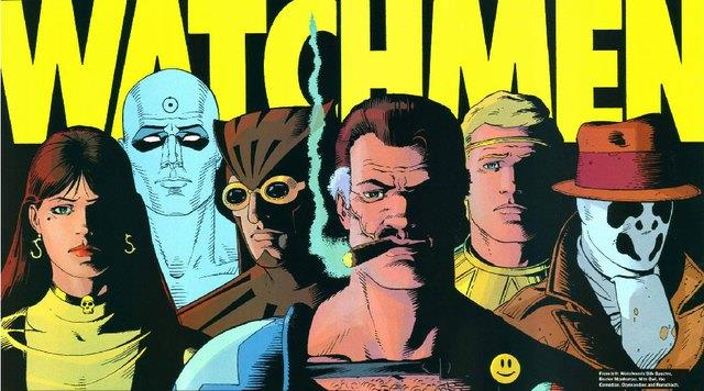 Immagine pubblicitaria del graphic novel, con tutto il gruppo di supereroi del gruppo sotto il logo