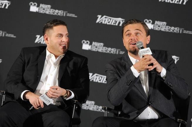 Leonardo DiCaprio e Jonah Hill nel 2014