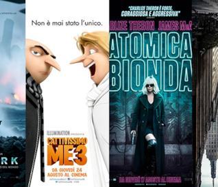 I poster dei film Dunkirk, Cattivissimo Me 3, Atomica Bionda, La Torre Nera