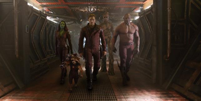 Chris Pratt, Zoe Saldana e Dave Bautista in Guardiani della Galassia