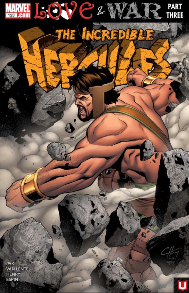 La copertina di un fumetto Marvel della serie The Incredibile Hercules