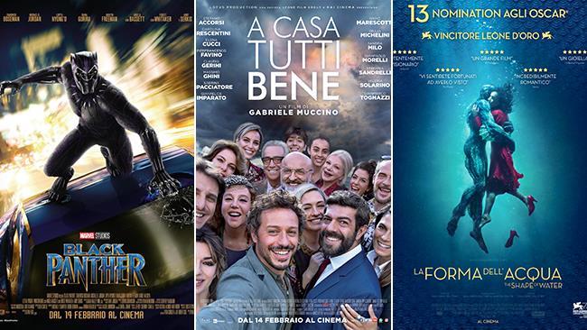 I poster dei film Black Panther, A casa tutti bene e La forma dell'acqua - The Shape of Water