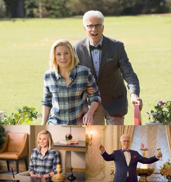 Kristen Bell e Ted Danson in The Good Place