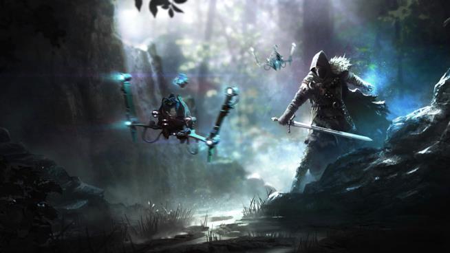 Il protagonista di ELEX esplora una delle affascinanti ambientazioni del videogame