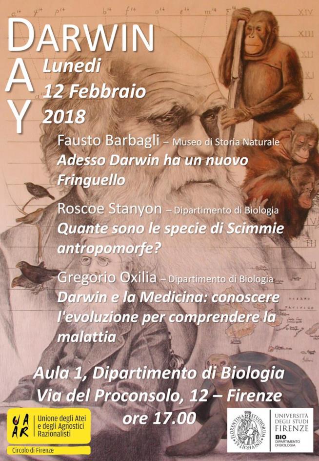 L'evento Darwin Day del 12 febbraio 2018 a Firenze