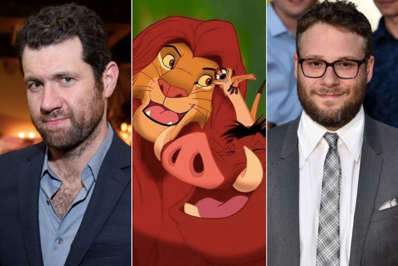 Seth Rogen e Billy Eichner in un collage con il Re Leone