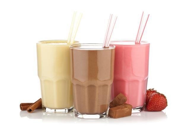 Primo piano di tre milk shake