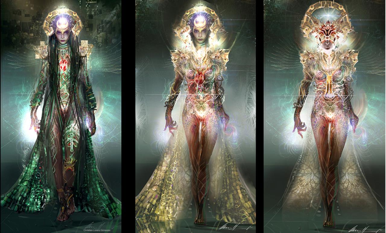 Tre diverse versioni di Incantatrice in una concept art