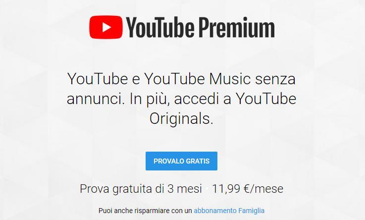 L'offerta di YouTube Premium