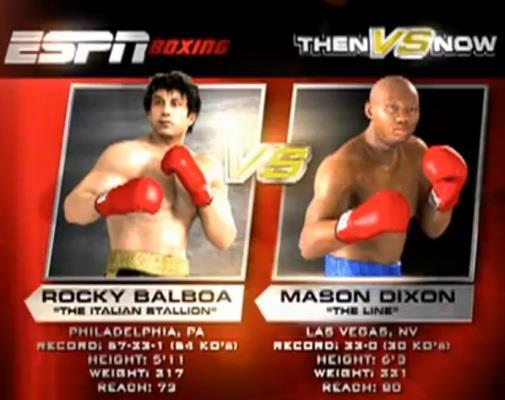 La schermata al computer di ESPN che mette a confronto Rocky e Mason Dixon