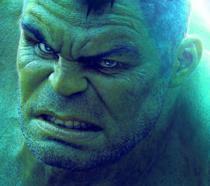 Un primo piano di Hulk, in un'immagine promozionale del personaggio