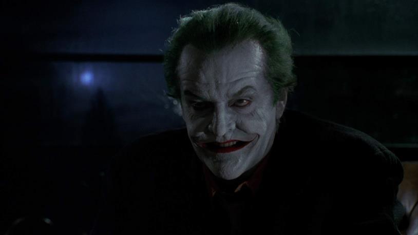 Jack Nicholson nei panni del Joker in una scena del film di Tim Burton