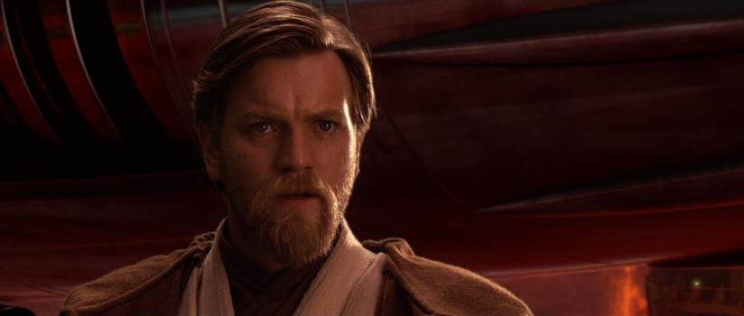 Un primo piano di Ewan McGregor nel film Star Wars: Episodio III - La vendetta dei Sith