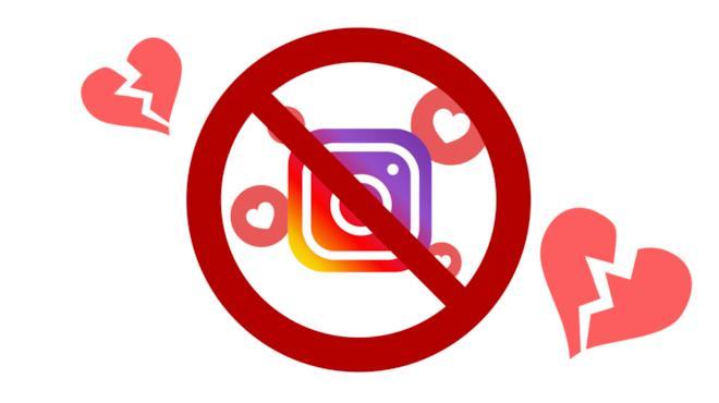 Il logo di Instagram coperto dal segnale di divieto