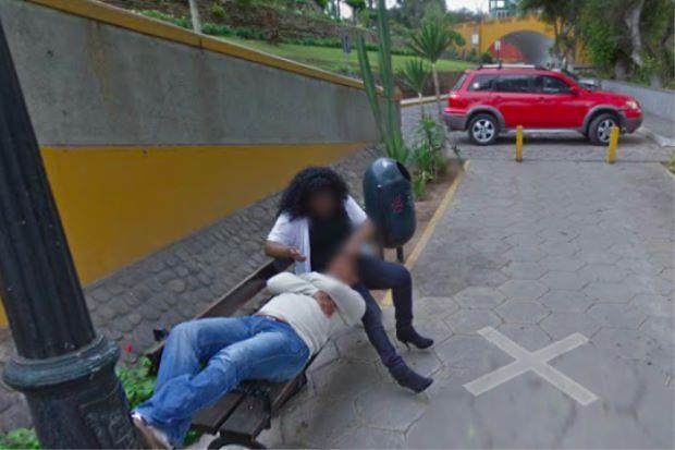 Primo piano della foto di Google Masp che mostra una donna in compagnia dell'amante su una panchina in Perù