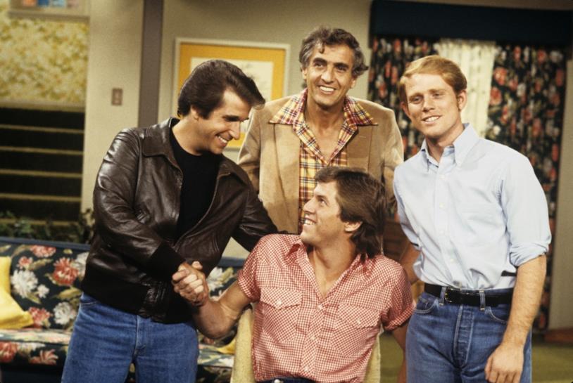 Henry Winkler in un'immagine di repertorio con il cast di Happy Days