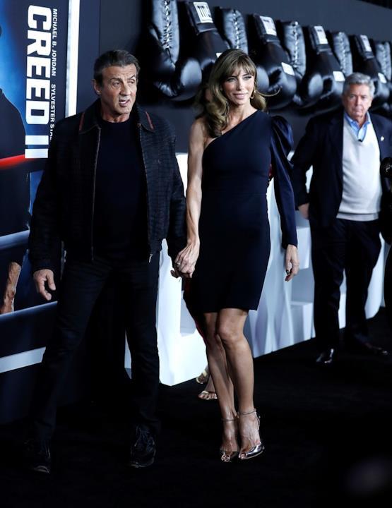 Sylvester Stallone e Jennifer Flavin alla prima di Creed II presso l'AMC Loews Lincoln Square