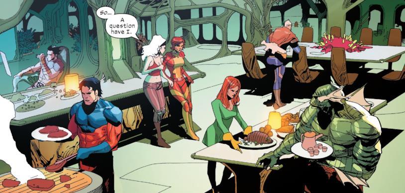 X Men in una scena di relax nella cucina della Summer House