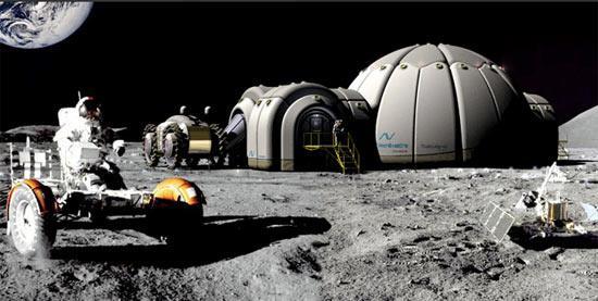 Colonia a forma di igloo con astronauta in tuta spaziale che guida un veicolo, sul suolo della Luna