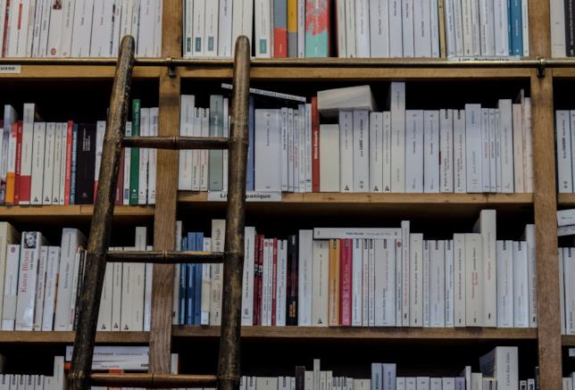 Libreria, primo piano su uno scaffale