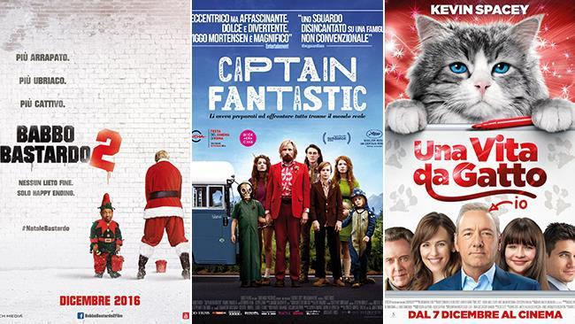 Le locandine dei film Babbo Bastardo 2, Captain Fantastic, Una Vita da Gatto