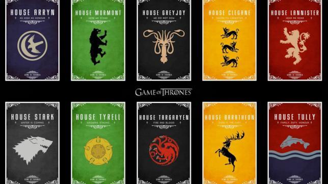 Alcuni degli stemmi di Game of Thrones