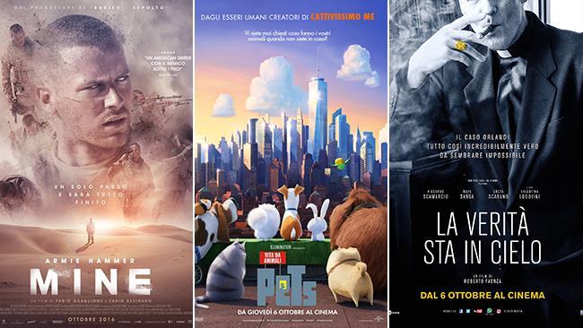 Le locandine dei film Mine, Pets - Vita da Animali e La Verità sta in Cielo