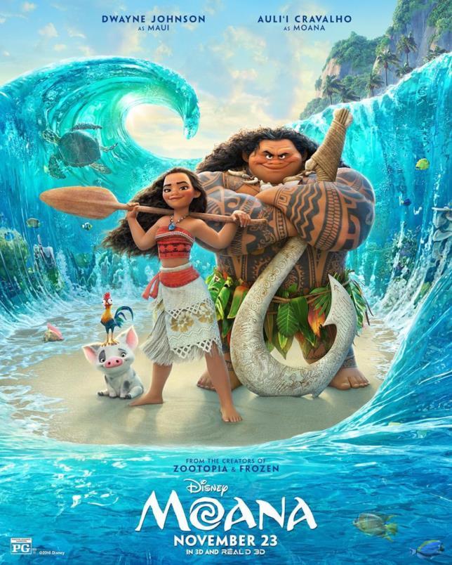 Vaiana e Maui nel poster ufficiale di Oceania (Moana)