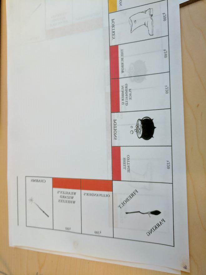 Il tabellone del monopoli di Harry Potter: stampa a specchio