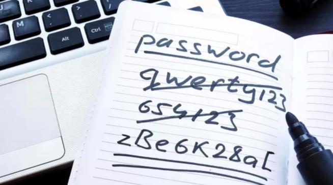 Esempi di password annotate su carta