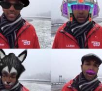 Justin Hinton e i divertenti filtri sulla sua testa